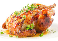 Pollo asado aislado Fotografía de archivo libre de regalías