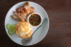 Pollo asado con arroz Fotos de archivo