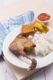 Pollo asado con el queso de soja frito, el tempeh, la salsa de chiles, y el arroz blanco Fotografía de archivo
