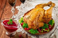 Pollo asado con la salsa de arándano imágenes de archivo libres de regalías