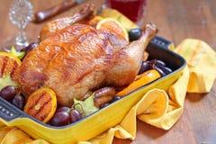 Pollo asado con las frutas Imagenes de archivo