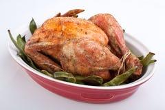 Pollo asado con las habas verdes Imagen de archivo
