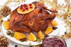 Pollo asado de la Navidad Imágenes de archivo libres de regalías