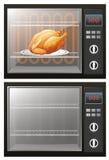 Pollo asado en el horno electrónico stock de ilustración