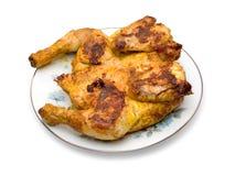 Pollo asado en la placa Fotografía de archivo