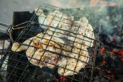 Pollo asado en parrilla El pollo frito en la parrilla de la barbacoa cocinó en los carbones Tabaco del pollo o tapaka del pollo Fotografía de archivo