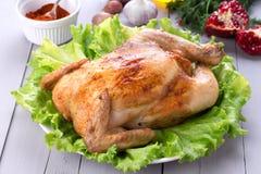 Pollo asado hecho en casa para la cena festiva Foto de archivo