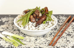 Pollo asado a la parrilla con arroz y verduras Imágenes de archivo libres de regalías