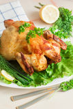 Pollo asado a la parrilla con las verduras frescas y las hierbas Imagenes de archivo