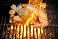 Pollo asado a la parrilla en llamas Fotografía de archivo
