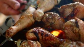 Pollo asado a la parrilla en la parrilla Pollo que cocina en una barbacoa Carne del pollo que cocina en una parrilla de la barbac almacen de video