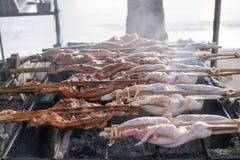 Pollo asado a la parrilla tailandés del noreste imagen de archivo libre de regalías