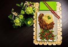 Pollo asiático con arroz Foto de archivo