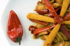 Pollo asiatico del curry del pepe rosso di fusione Immagine Stock