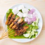 Pollo asiatico dell'alimento satay Fotografia Stock Libera da Diritti