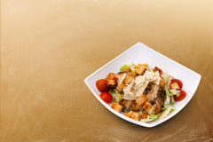 Pollo Caesar Salad, queso, cuscurrones Foto de archivo
