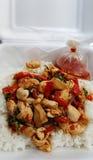 Pollo caldo e piccante del basilico con riso Fotografia Stock Libera da Diritti