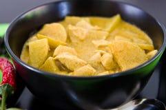 Pollo casalingo con la salsa di curry, ricetta tailandese Fotografie Stock