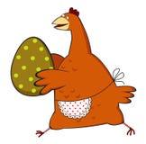 Pollo che funziona con l'uovo di Pasqua Immagini Stock