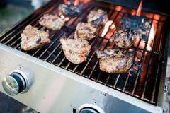 Pollo che griglia su un barbecue del gas immagini stock