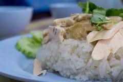 Pollo chino asiático del vapor del estilo de la comida del primer con arroz y el sa Fotografía de archivo libre de regalías