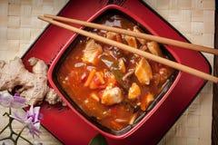 Pollo cinese con le verdure Fotografie Stock