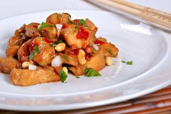 Pollo cinese di Kung Po dell'alimento Fotografie Stock Libere da Diritti