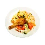 Pollo cocido al horno con la ensalada Foto de archivo