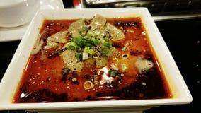 Pollo cocido al vapor con la salsa de chile - plato de Sichuan del chino Fotografía de archivo libre de regalías