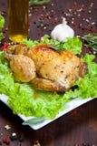 Pollo cocido con la ensalada Imagenes de archivo