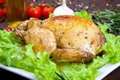 Pollo cocido con la ensalada Imágenes de archivo libres de regalías