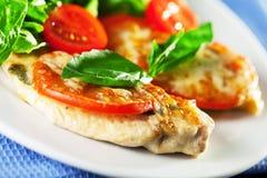 Pollo cocido con la mozzarella y los tomates Foto de archivo
