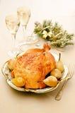 Pollo cocido con las peras Fotos de archivo