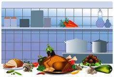 Pollo cocinado en la cocina ilustración del vector