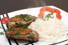 Pollo con arroz Fotografía de archivo libre de regalías