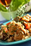 Pollo con arroz y vino Fotografía de archivo libre de regalías