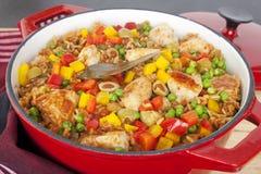 Pollo con l'imbroglione Pollo di Arroz del riso Immagini Stock Libere da Diritti