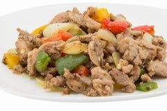 Pollo con l'ingrediente nero piccante del peperoncino immagine stock