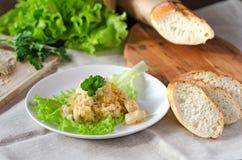 Pollo con la col y el queso en la madera Imagen de archivo