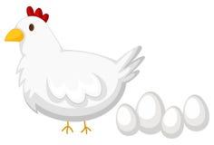 Pollo con la pluma blanca y cuatro huevos stock de ilustración