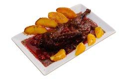 Pollo con la salsa de la cereza Fotografía de archivo libre de regalías
