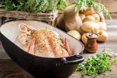 Pollo con las especias y las verduras en cazuela Fotos de archivo