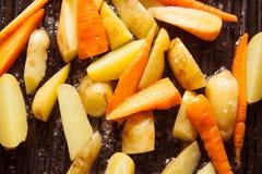 Pollo con las verduras fritas Foto de archivo