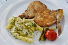Pollo con le patate Fotografia Stock