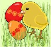 Pollo con le uova golored illustrazione vettoriale