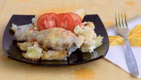 Pollo con le verdure ed il formaggio (? 1, esperto in informatica di ricetta Fotografia Stock Libera da Diritti