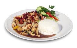 Pollo con los anacardos, el chile y el arroz Fotos de archivo libres de regalías