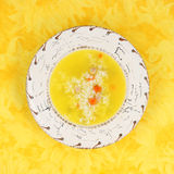Pollo con riso e la minestra di verdura fotografia stock