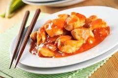 Pollo con salsa agrodolce Fotografia Stock