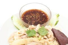 Pollo cortado del Hainan-estilo con arroz adobado fotografía de archivo